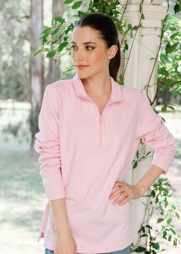 Pale Pink 100% Cotton Zip Rugby Top