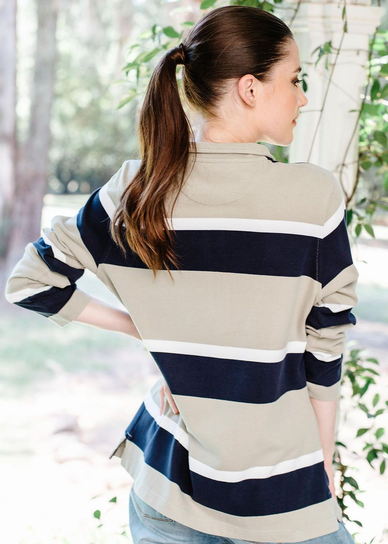 Khaki / White / Navy 100% Cotton Stripe Zip Rugby Top