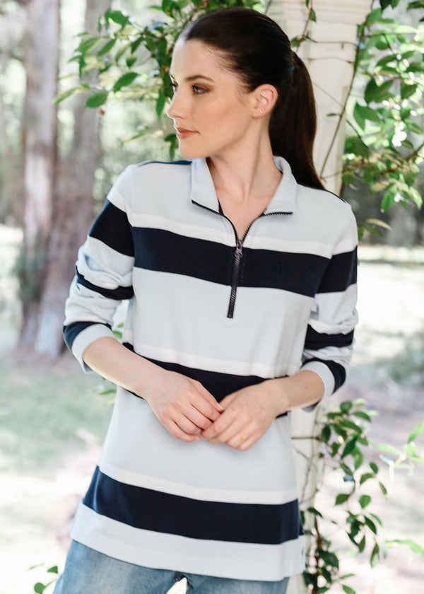 Pale Blue / White / Navy 100% Cotton Stripe Zip Rugby Top