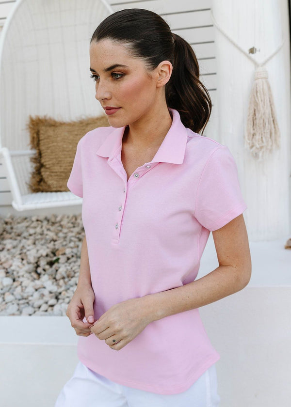 Pale Pink 100% Cotton Pique Fitted Polo