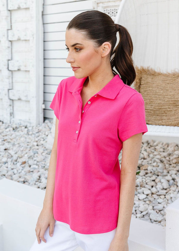 Watermelon 100% Cotton Pique Fitted Polo
