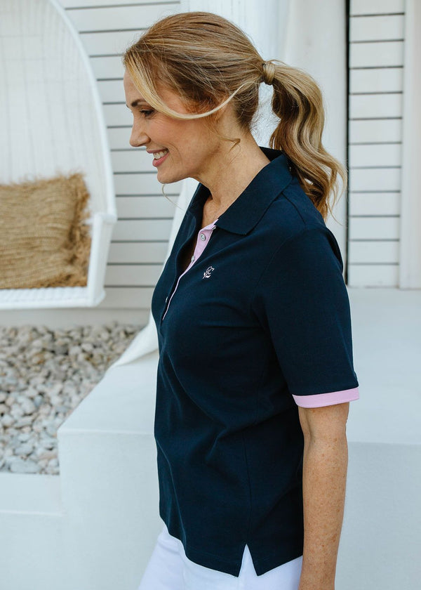 Navy / Pale Pink 100% Cotton Pique Contrast Trim Polo