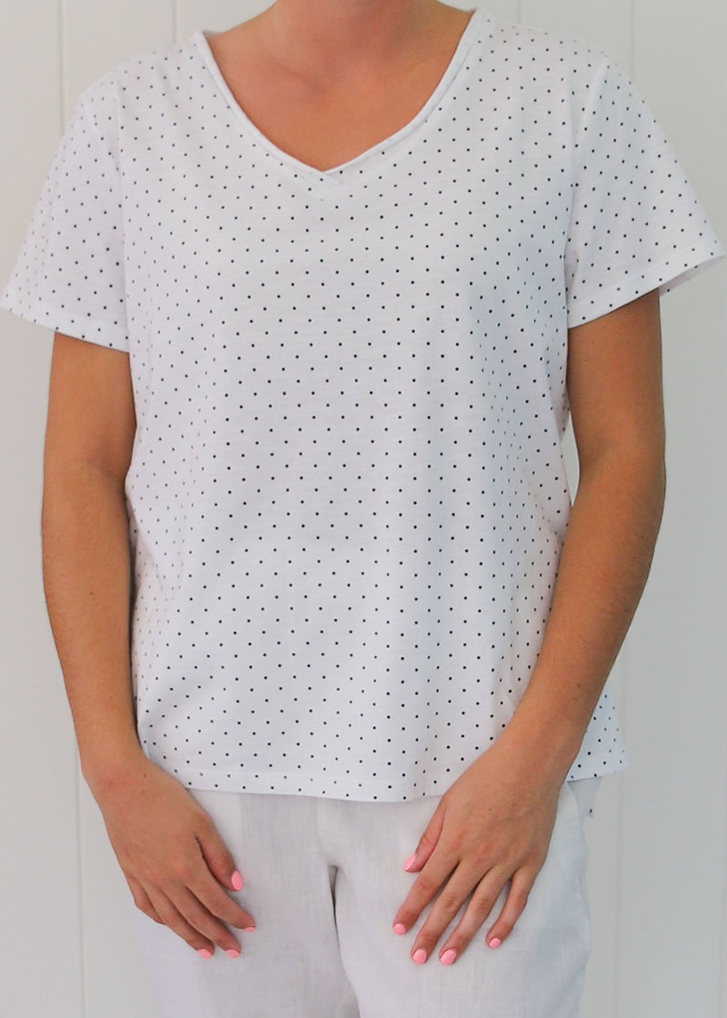 White/Navy 100% Cotton Dot Print Tee Shirt