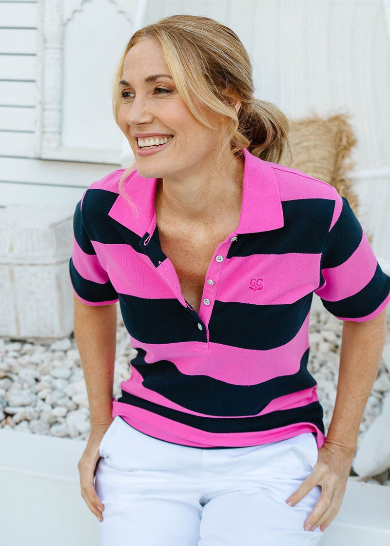 Bright Pink / Navy 100% Cotton Pique Striped Classic Polo