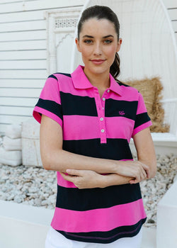 Bright Pink / Navy 100% Cotton Pique Striped Fitted Polo