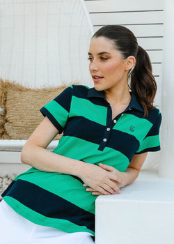 Emerald / Navy 100% Cotton Pique Striped Fitted Polo