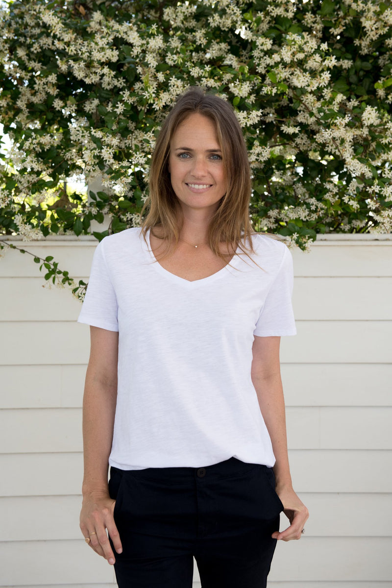 White 100% Cotton V Neck Tee Shirt
