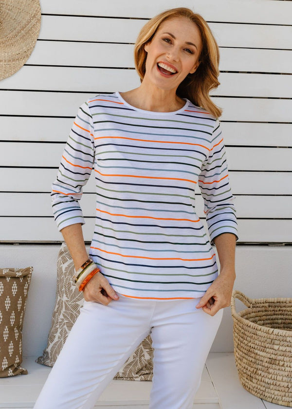 Multi Stripe 100% Cotton 3/4 Sleeve Tee