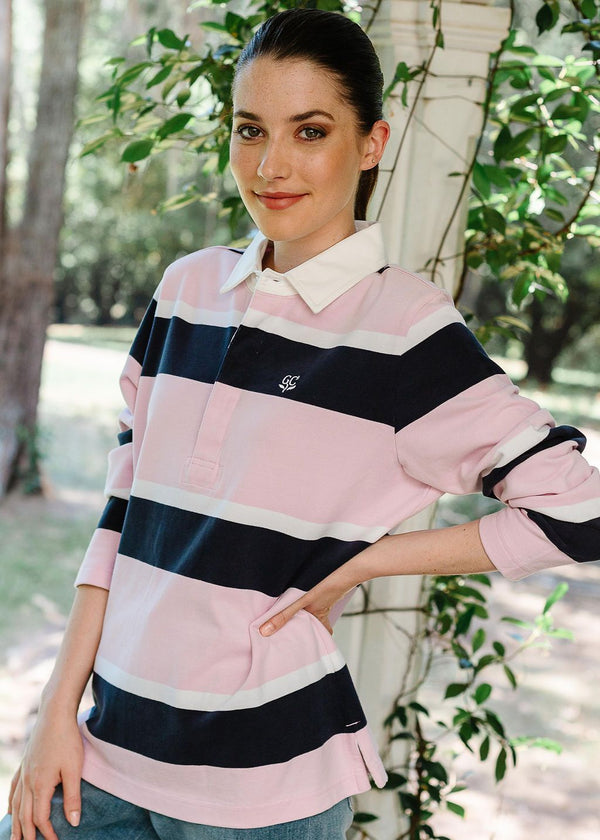 Pink / White / Navy 100% Cotton Stripe Rugby Top
