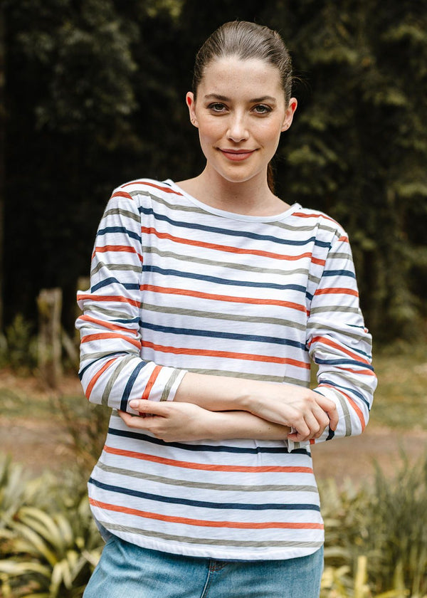 Multi Stripe 100% Cotton Long Sleeve Tee Shirt