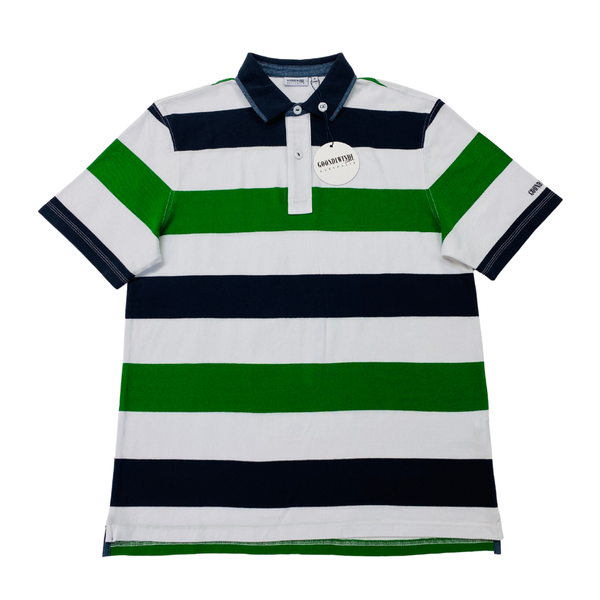 Green / White / Navy 100% Cotton Mens Polo