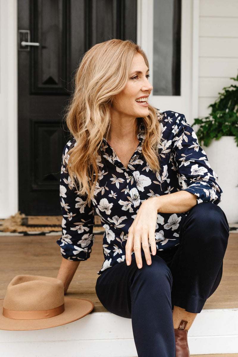 Navy Floral 100% Cotton Classic Shirt