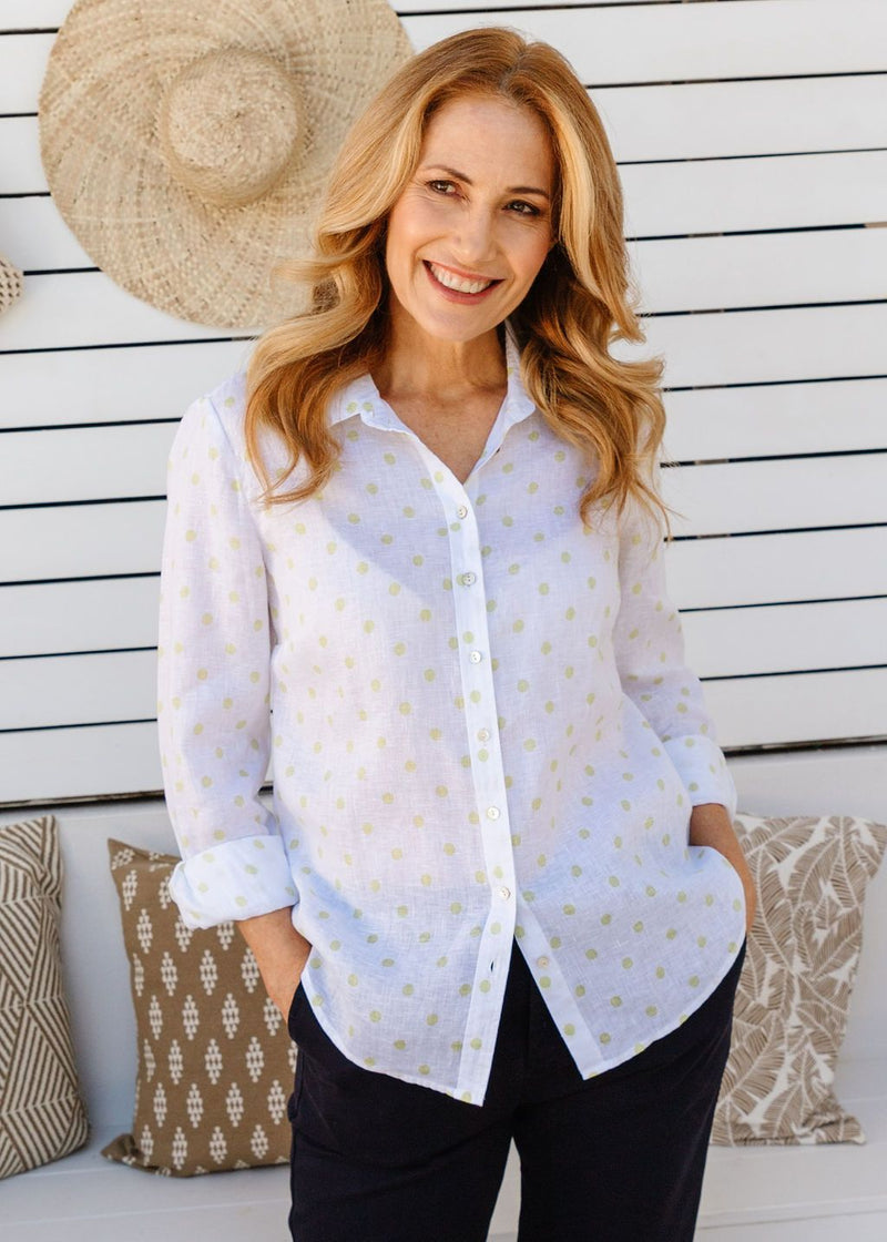 White / Lime Spot Print 100% Linen Long Sleeve Classic Shirt