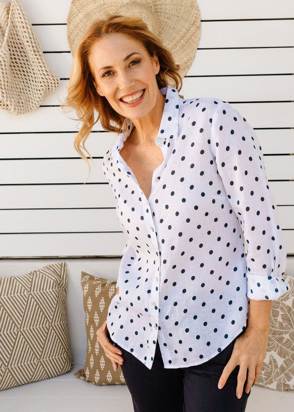 White / Navy Spot Print 100% Linen Long Sleeve Classic Shirt