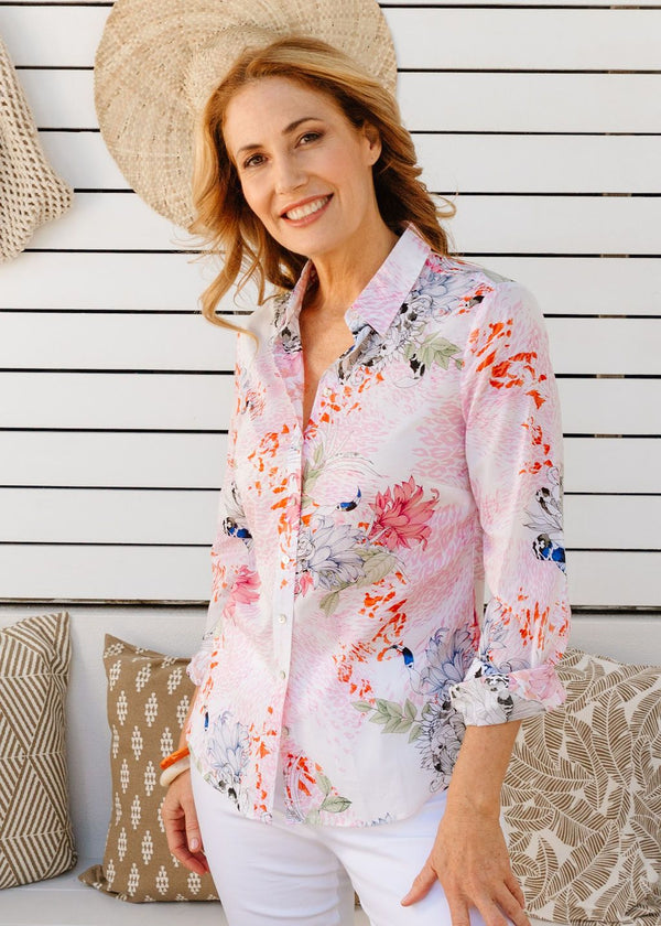 Soft Floral Print 100% Cotton Long Sleeve Classic Shirt