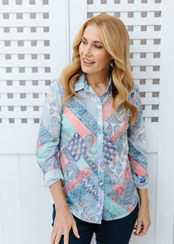 Patchwork Print 100% Cotton Long Sleeve Classic Shirt