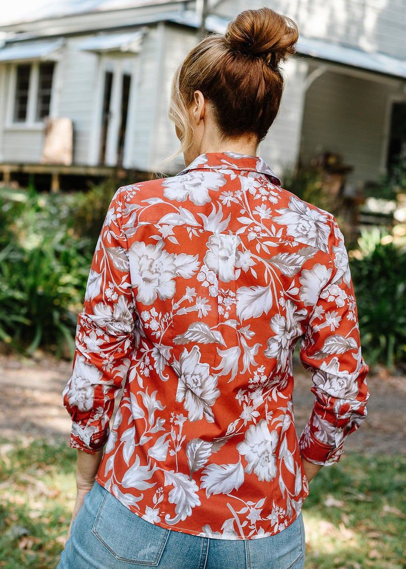 Terracotta Floral Print 100% Cotton Long Sleeve Classic Shirt