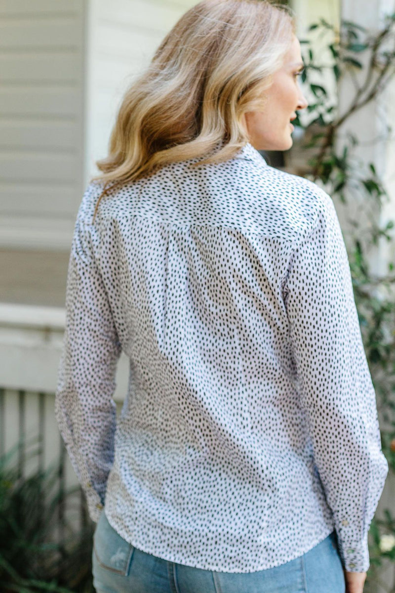White / Coffee Oval Spot Print 100% Cotton Long Sleeve Classic Shirt