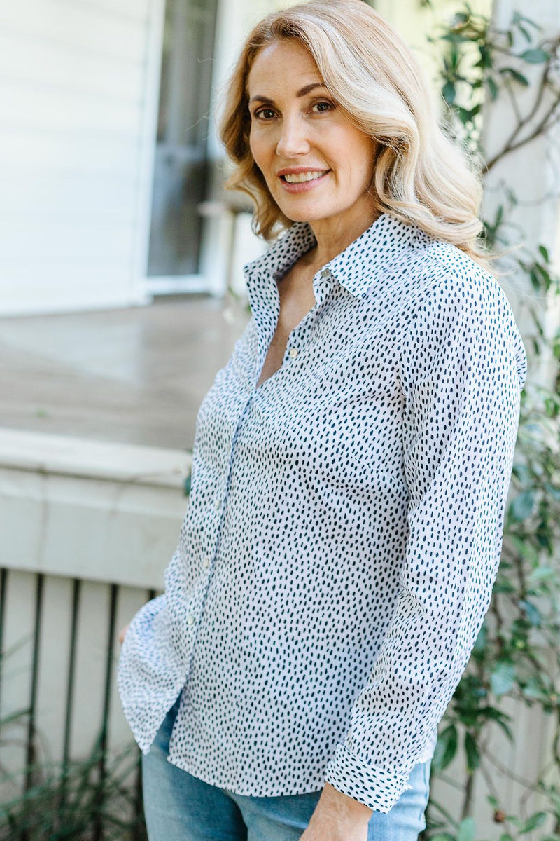 White / Navy Oval Spot Print 100% Cotton Long Sleeve Classic Shirt