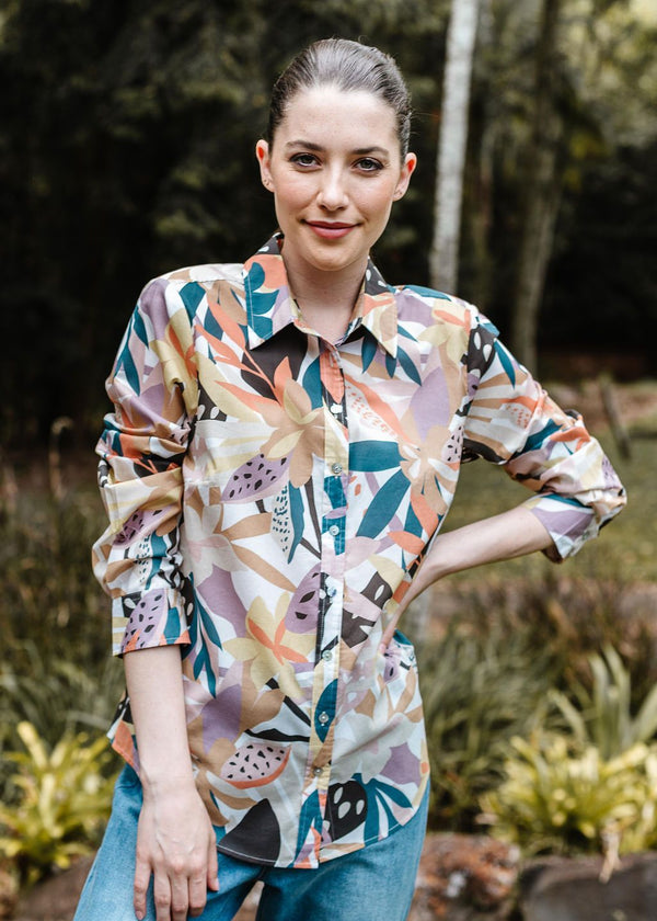Abstract Floral Print 100% Cotton Long Sleeve Classic Shirt