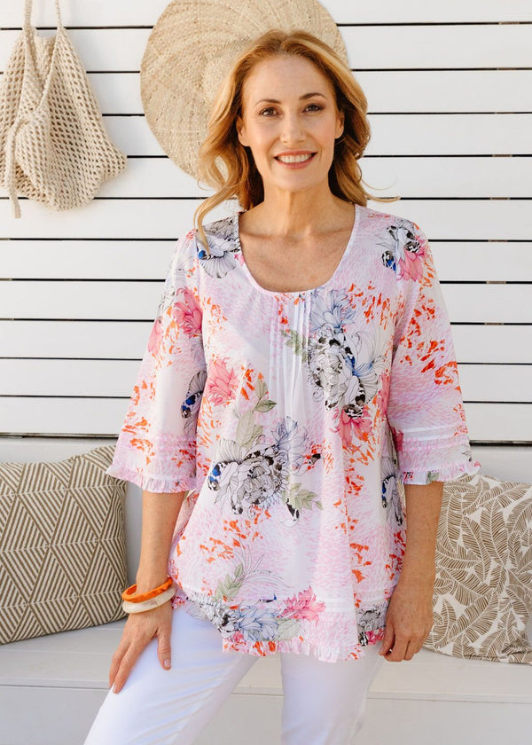 Soft Floral Print 100% Cotton Trapeze Blouse