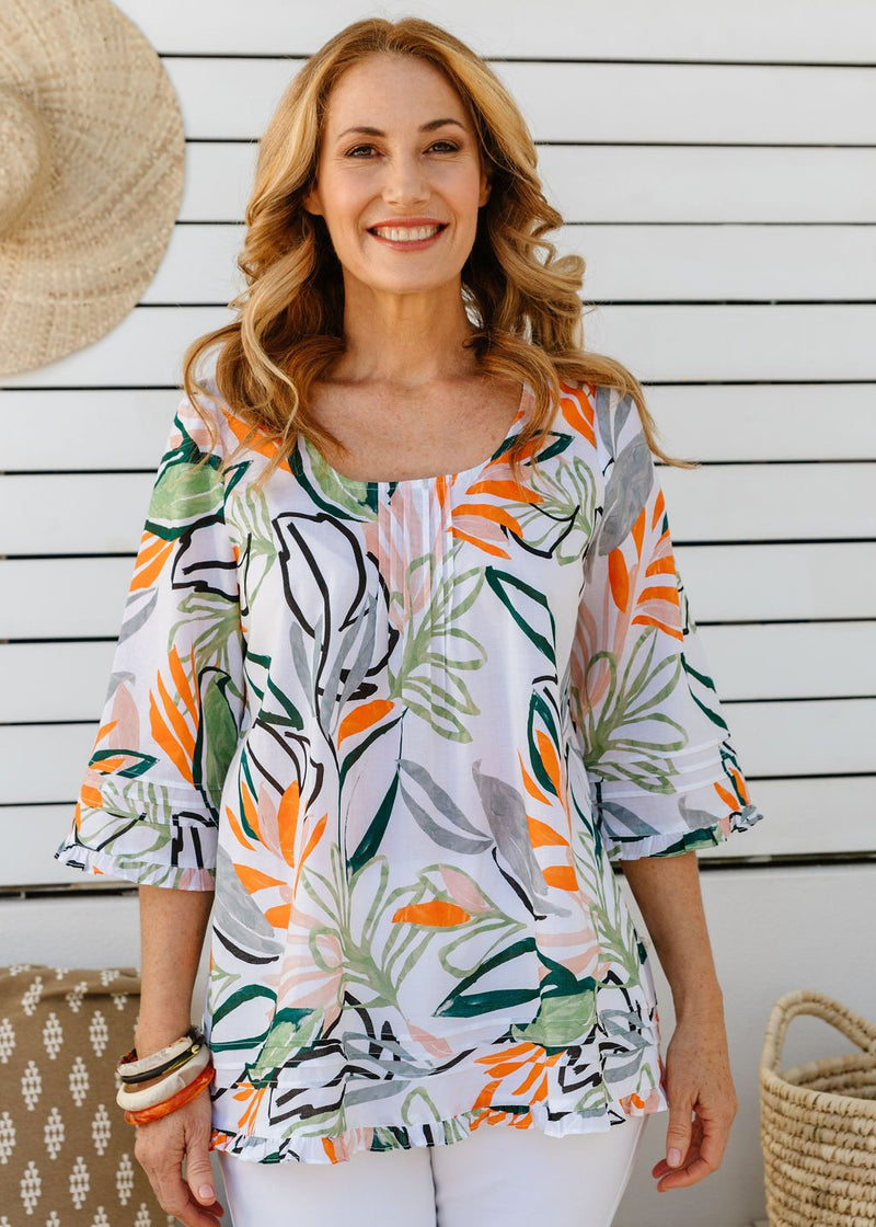 Abstract Leaf Print 100% Cotton Trapeze Blouse