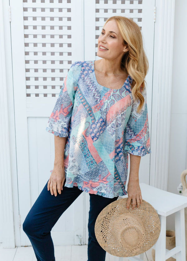 Patchwork Print 100% Cotton Trapeze Blouse
