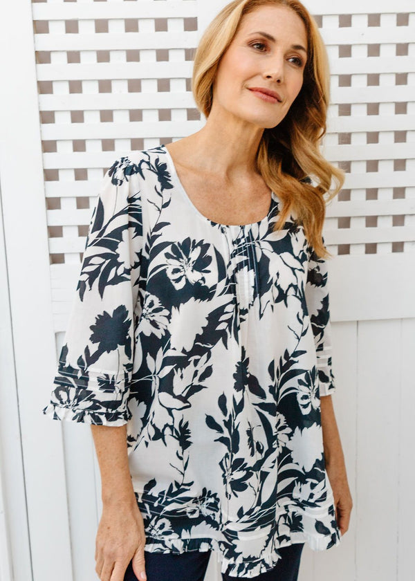 White / Navy Shadow Print 100% Cotton Trapeze Blouse
