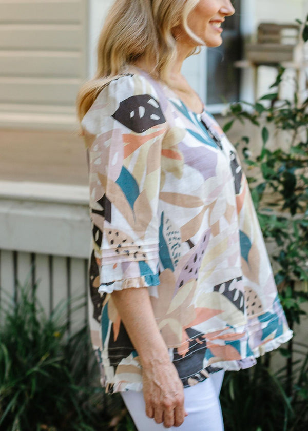 Abstract Floral Print 100% Linen Trapeze Blouse