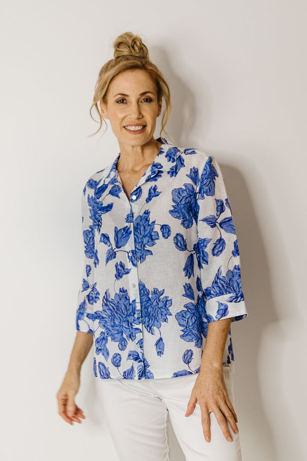 Blue Floral 100% Linen 3/4 Sleeve Shirt