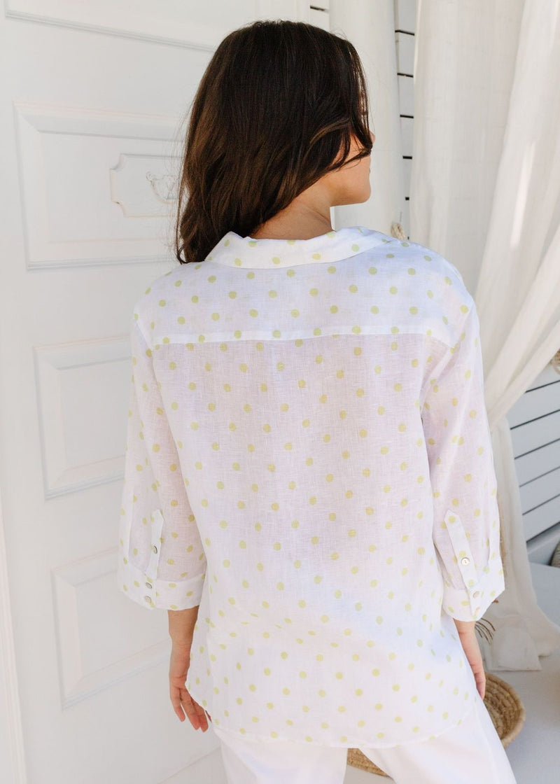 White / Lime Spot Print 100% Linen 3/4 Sleeve Shirt