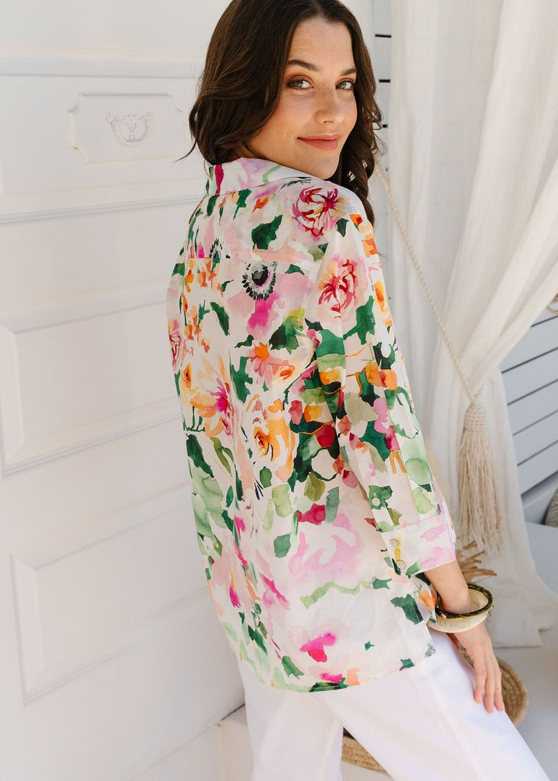 Watercolour Print 100% Cotton 3/4 Sleeve Shirt