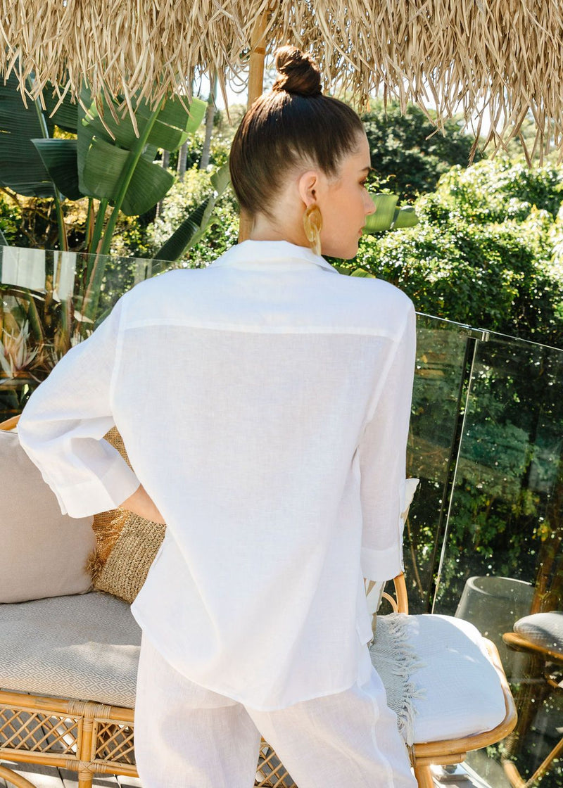 White 100% Linen 3/4 Sleeve Shirt