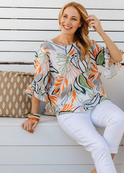 Abstract Leaf Print 100% Linen Ruffle Sleeve Top