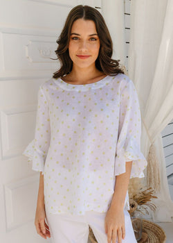 White / Lime Spot Print 100% Linen Ruffle Sleeve Top