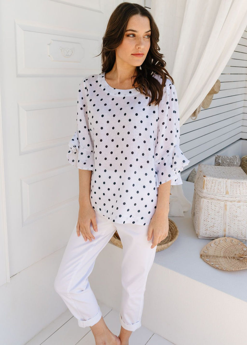White / Navy Spot Print 100% Linen Ruffle Sleeve Top