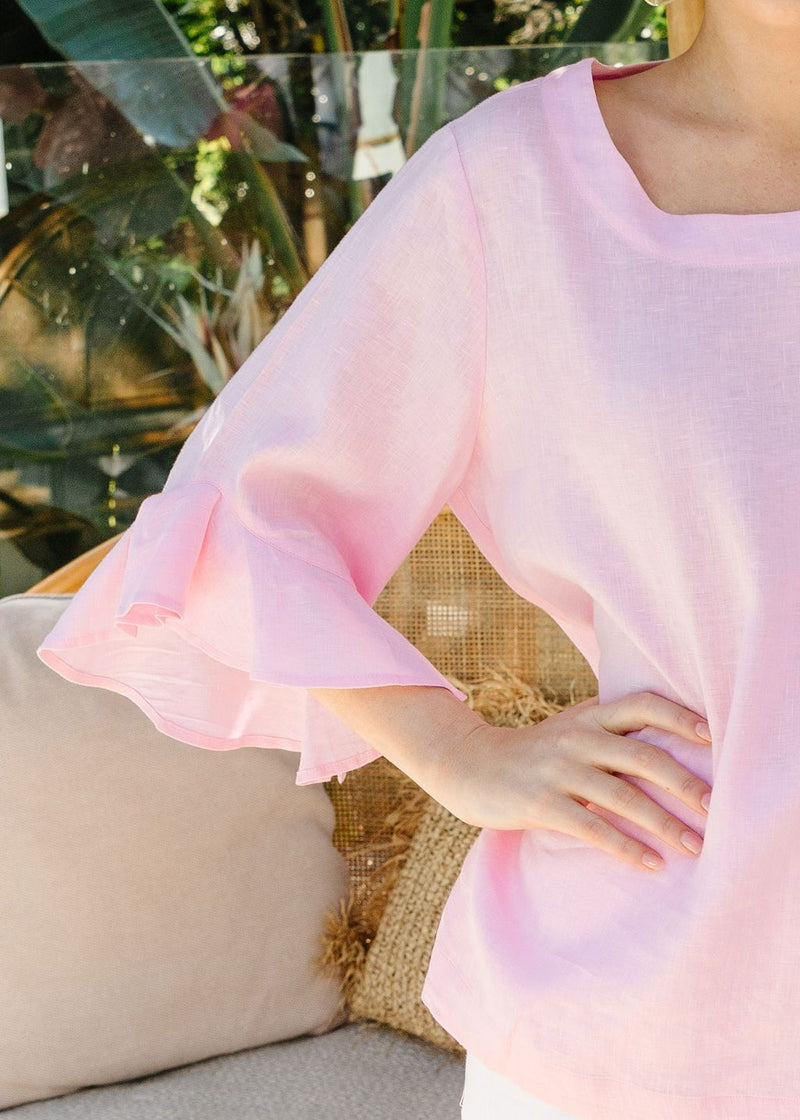 Pale Pink 100% Linen Ruffle Sleeve Top