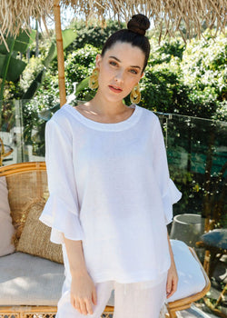 White 100% Linen Ruffle Sleeve Top