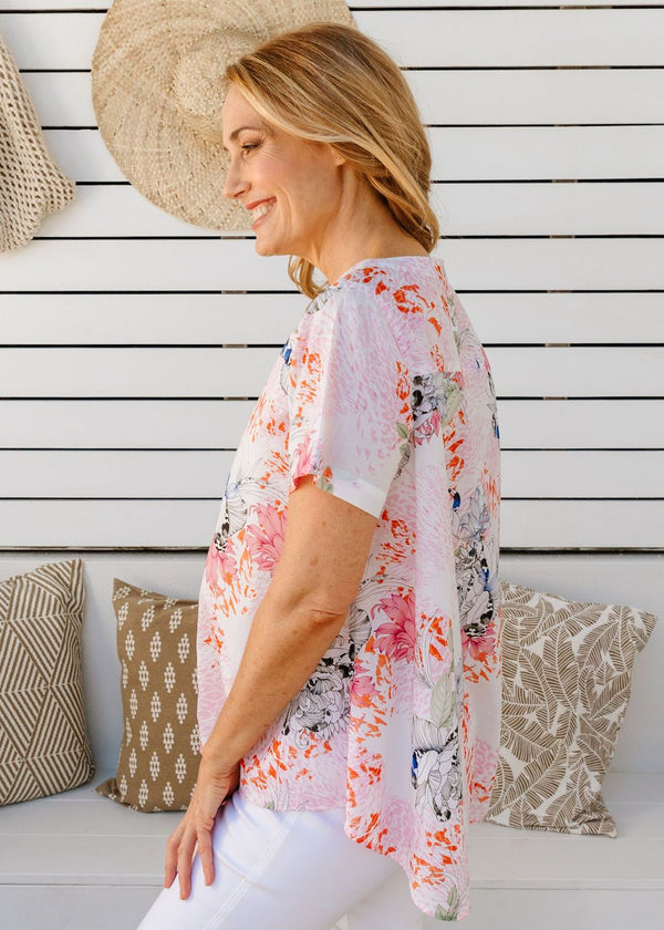 Soft Floral Print 100% Cotton Short Sleeve Swing Top