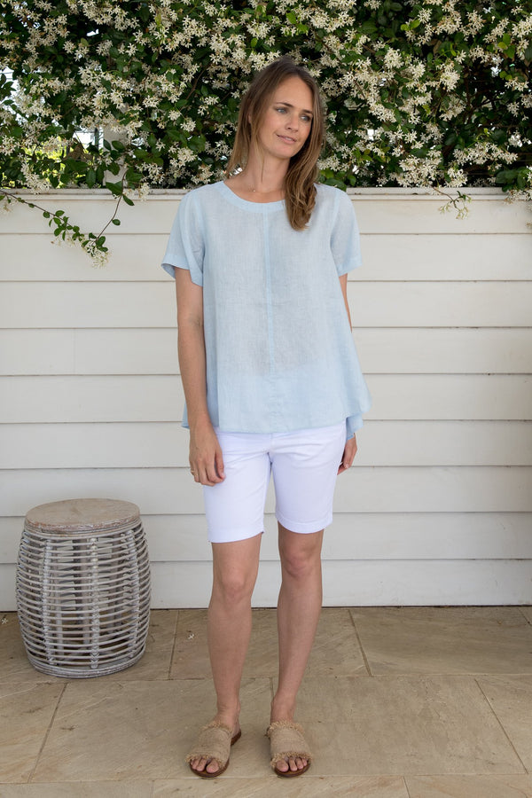 Soft Blue 100% Linen Short Sleeve Swing Top