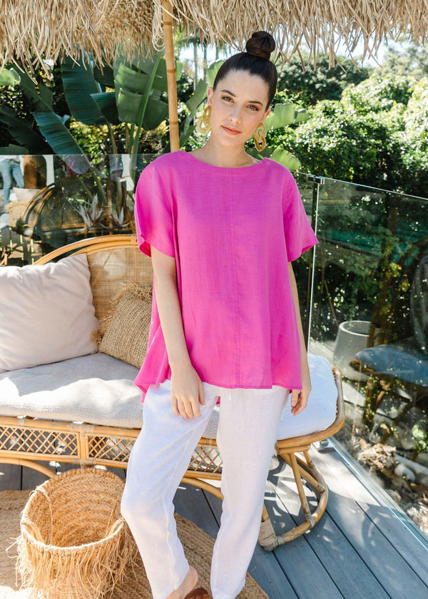 Hot Pink 100% Linen Short Sleeve Swing Top