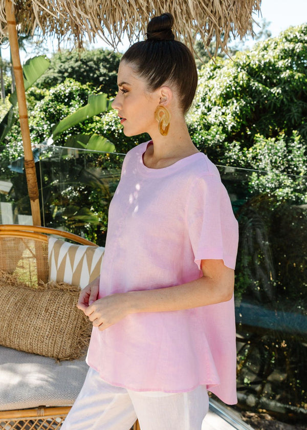 Pale Pink 100% Linen Short Sleeve Swing Top