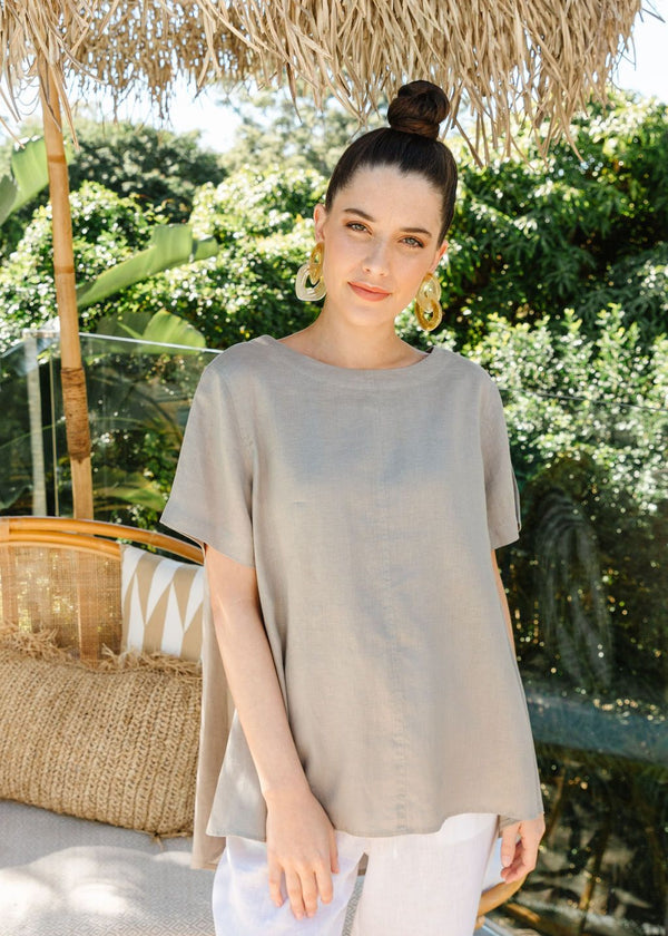 Sage 100% Linen Short Sleeve Swing Top