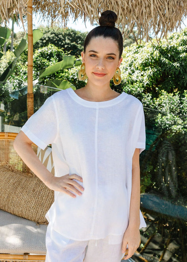 White 100% Linen Short Sleeve Swing Top