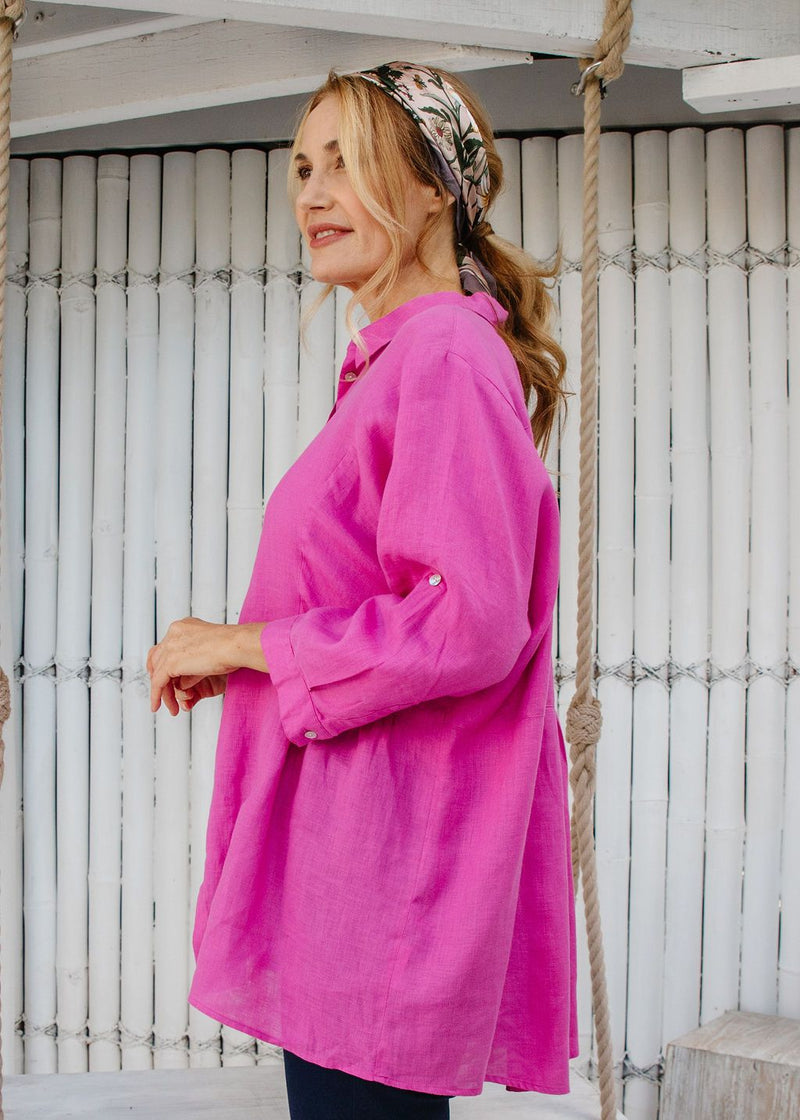 Hot Pink 100% Linen Relaxed Shirt