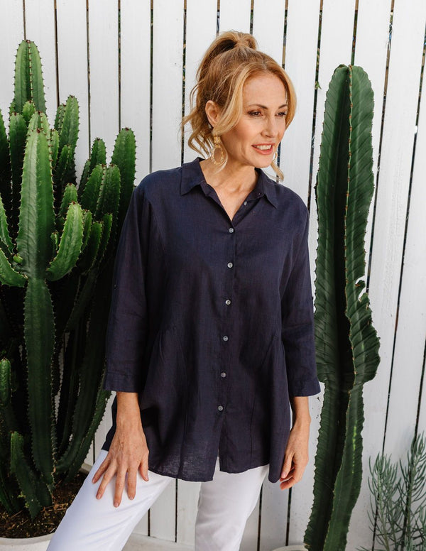Navy 100% Linen Relaxed Shirt
