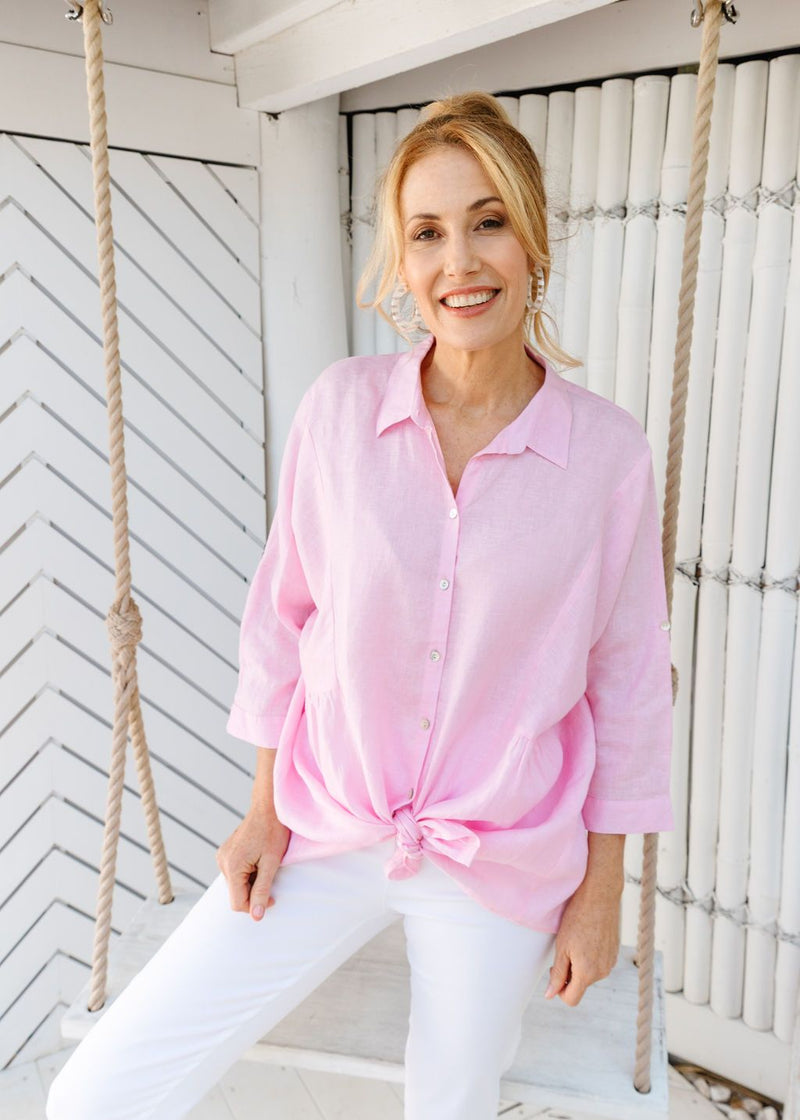 Pale Pink 100% Linen Relaxed Shirt