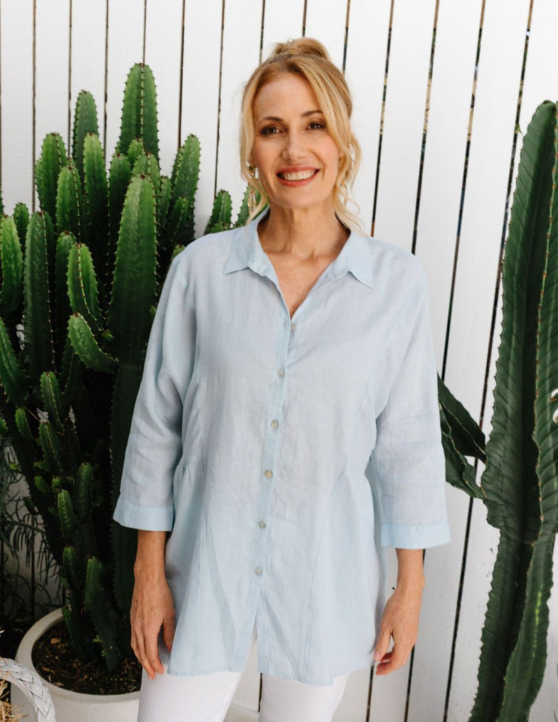 Soft Blue 100% Linen Relaxed Shirt