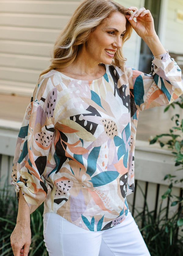 Abstract Floral Print 100% Linen 3/4 Sleeve Top With Ties