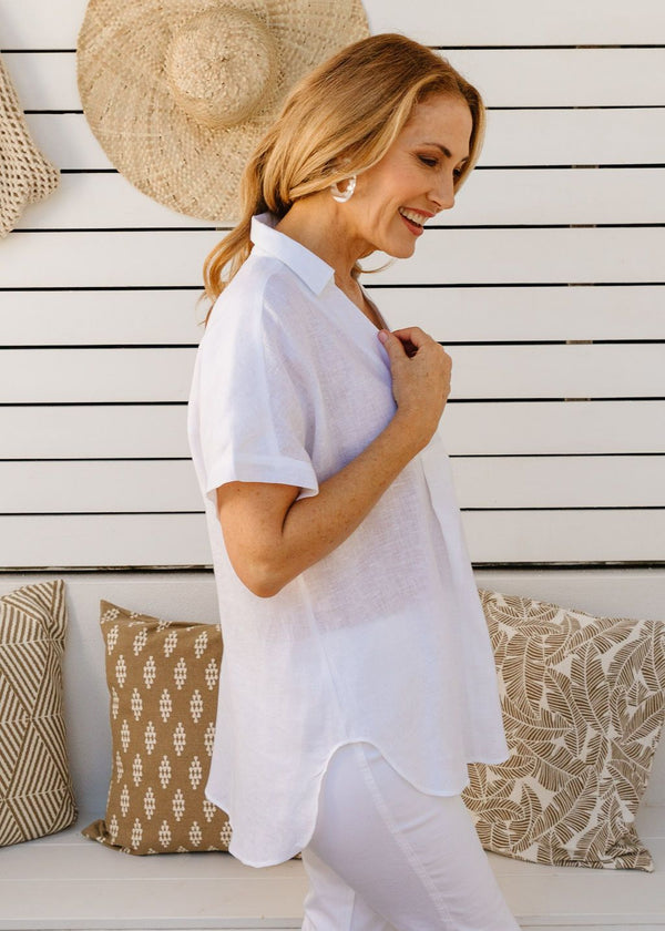 White 100% Linen Gauze 1/2 Placket Short Sleeve Shirt
